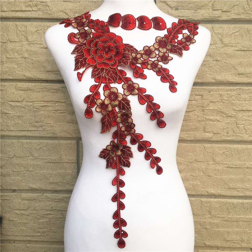 Large Red Flower Lace Embroidery Venise Neckline Motif Collar Patches Applique