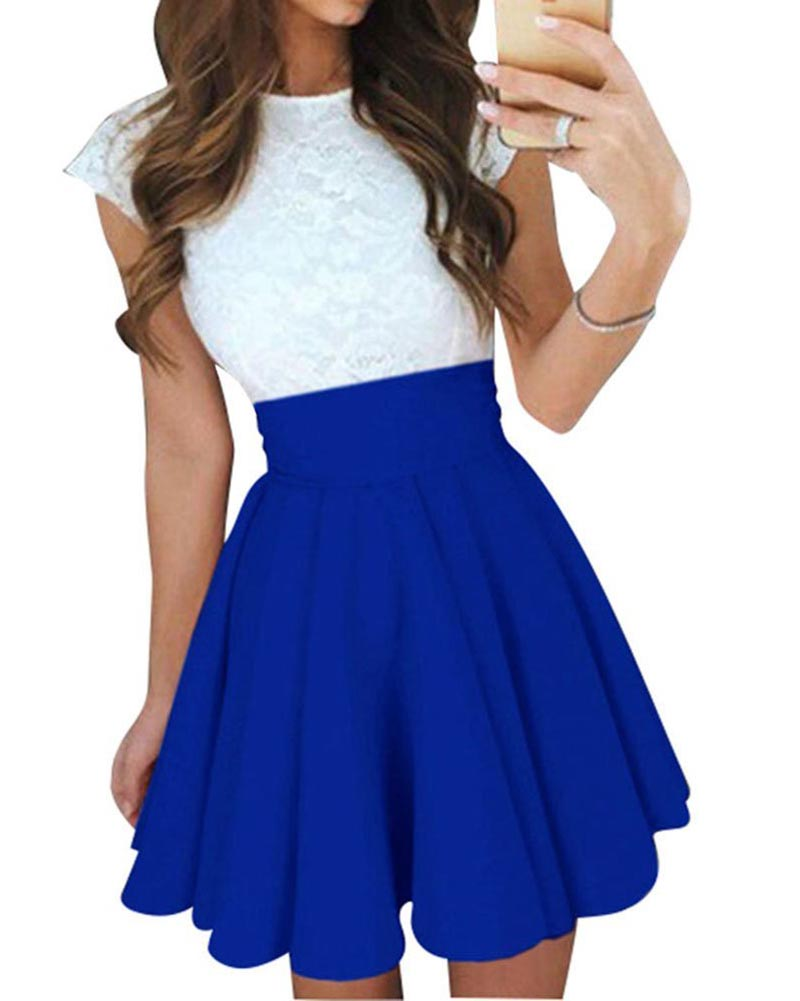Hitmebox 2018 New Women's High Waist Lace Top Splicing Cape Sleeve Cute Pleated Cocktail Party Dresses A-line Skater Mini Dress