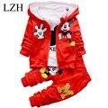 LZH 2017 Primavera Niño Niños Niñas Juegos de Ropa de Otoño 3 Unids conjuntos de Abrigo Con Capucha Chicas Ropa Set Kids Sport Suit Niños ropa
