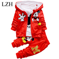 LZH 2017 Spring Boys Clothing Set Autumn Winter 3 Piece Sets Hooded Coat Baby Girls Clothes Set Kids Sport Suit Chidren Clothes