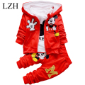 LZH 2017 Spring Toddler Boys Girls Clothing Sets Autumn 3Pcs Sets Hooded Coat Girls Clothes Set Kids Sport Suit Chidren Clothing