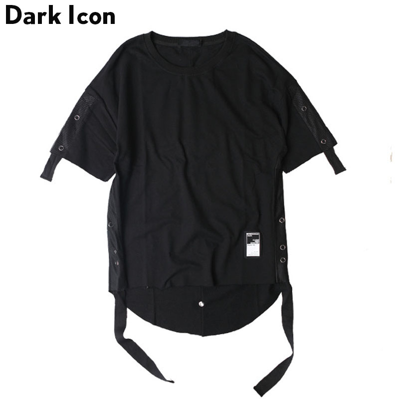 Unique Design Back Longer Streetwear Hip Hop Tshirt 2017 Summer Curve Hem Back Patchwork Side Ribbon Fashion Mens Tee Shirts