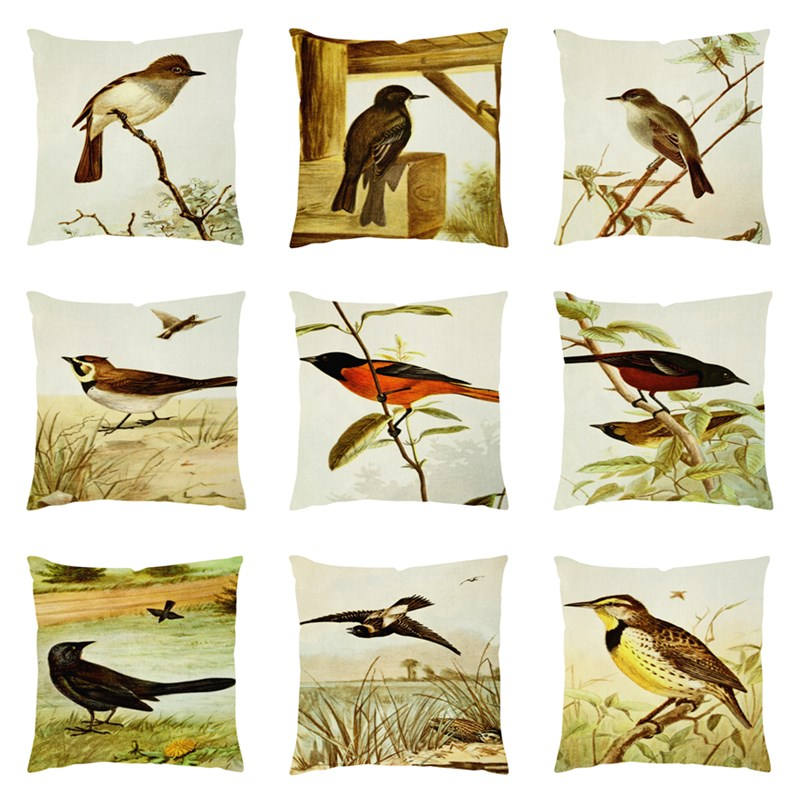 Europe American Bird illustrations Plain Printed Cushion Cover High End Pillowcase Squar ...