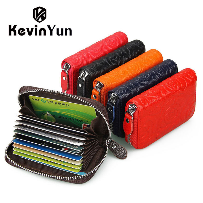 KEVIN YUN Designer Brand Fashion Flower Women Card Holder Genuine Leather Credit Cards Case Designer Brand