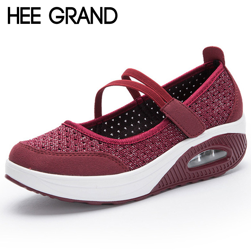 HEE GRAND Creepers 2018 New Summer Platform Shoes Woman Slip On Breathable Rocking Shoes Women Flats Shoes Size 35-42 XWC1400