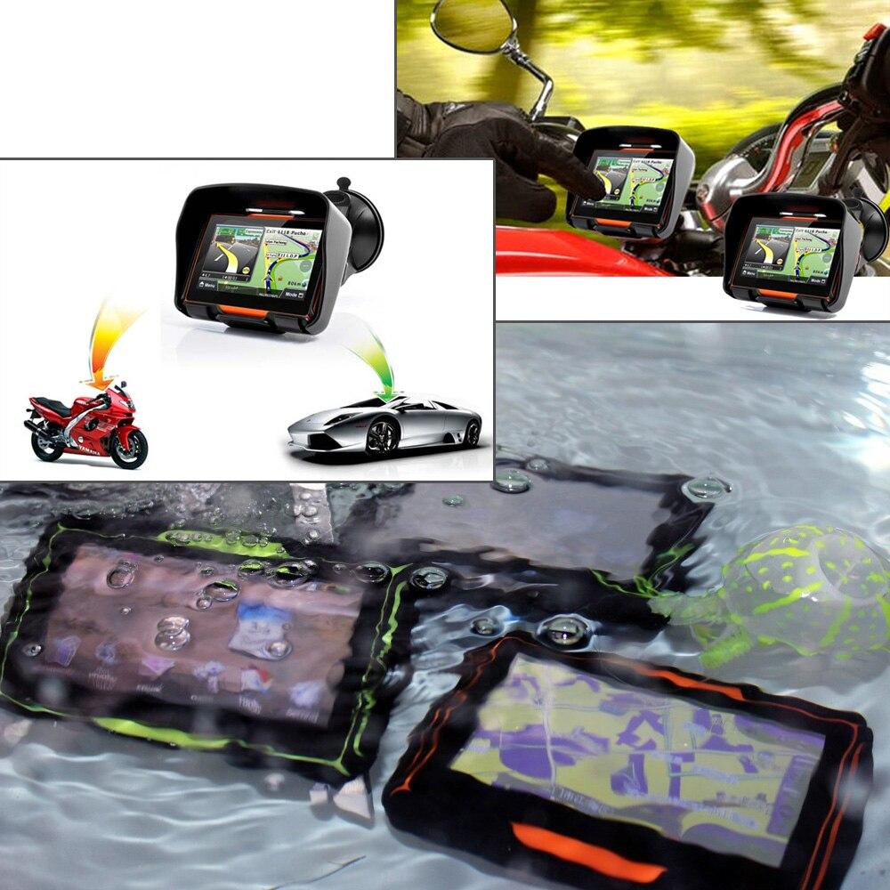 Fodsports mise à jour 256M RAM 8GB Flash 4.3 pouces Moto GPS navigateur étanche Bluetooth Moto gps voiture Navigation cartes gratuites - 3