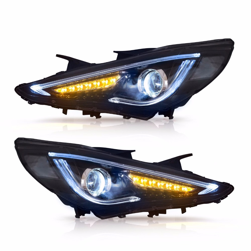 Vland For 2011-2014 Hyundai Sonata Headlights With Red Demon Eyes New Design Led Head Lamp Assembly багажник на крышу lux hyundai sonata тагаз 2001 2011 1 2м прямоугольные дуги 692971
