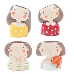 Image 1 - Roogo 귀여운 소녀 화분 현대 즙이 많은 냄비 홈 정원 식물 냄비 발코니 장식 난초 냄비 화분 cachepot