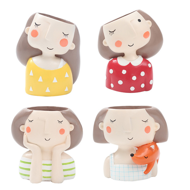 Roogo 귀여운 소녀 화분 현대 즙이 많은 냄비 홈 정원 식물 냄비 발코니 장식 난초 냄비 화분 cachepot