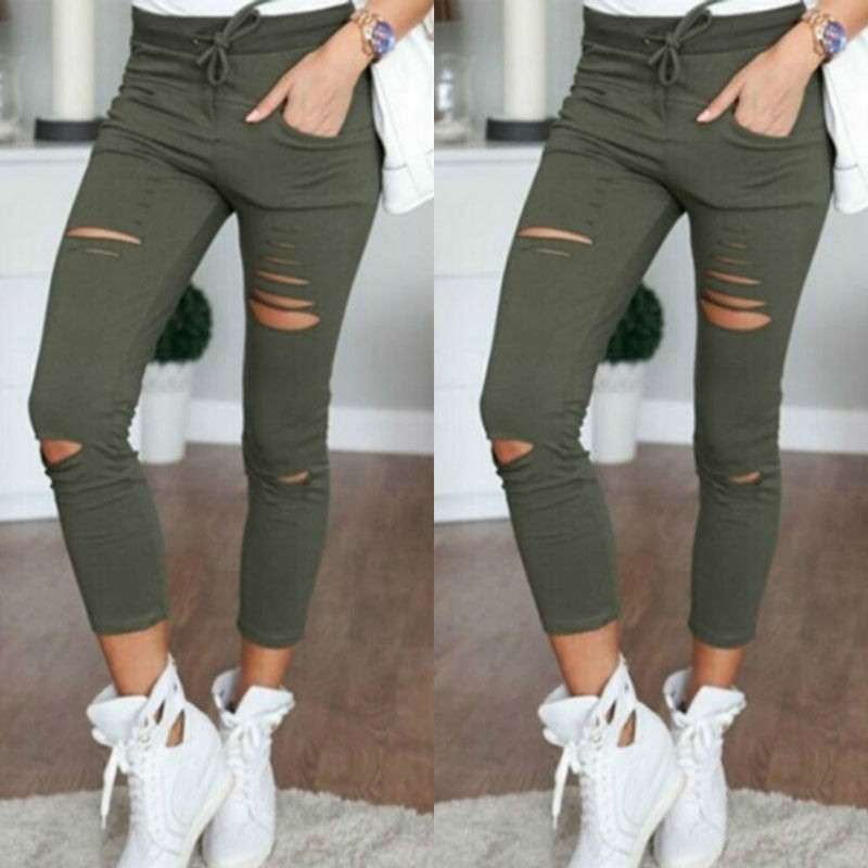 S-4XL Women Skinny   Jeans   Girls Pants Holes Knees Pencil Pants Casual Pants Black White Elastic Shredded   Jeans