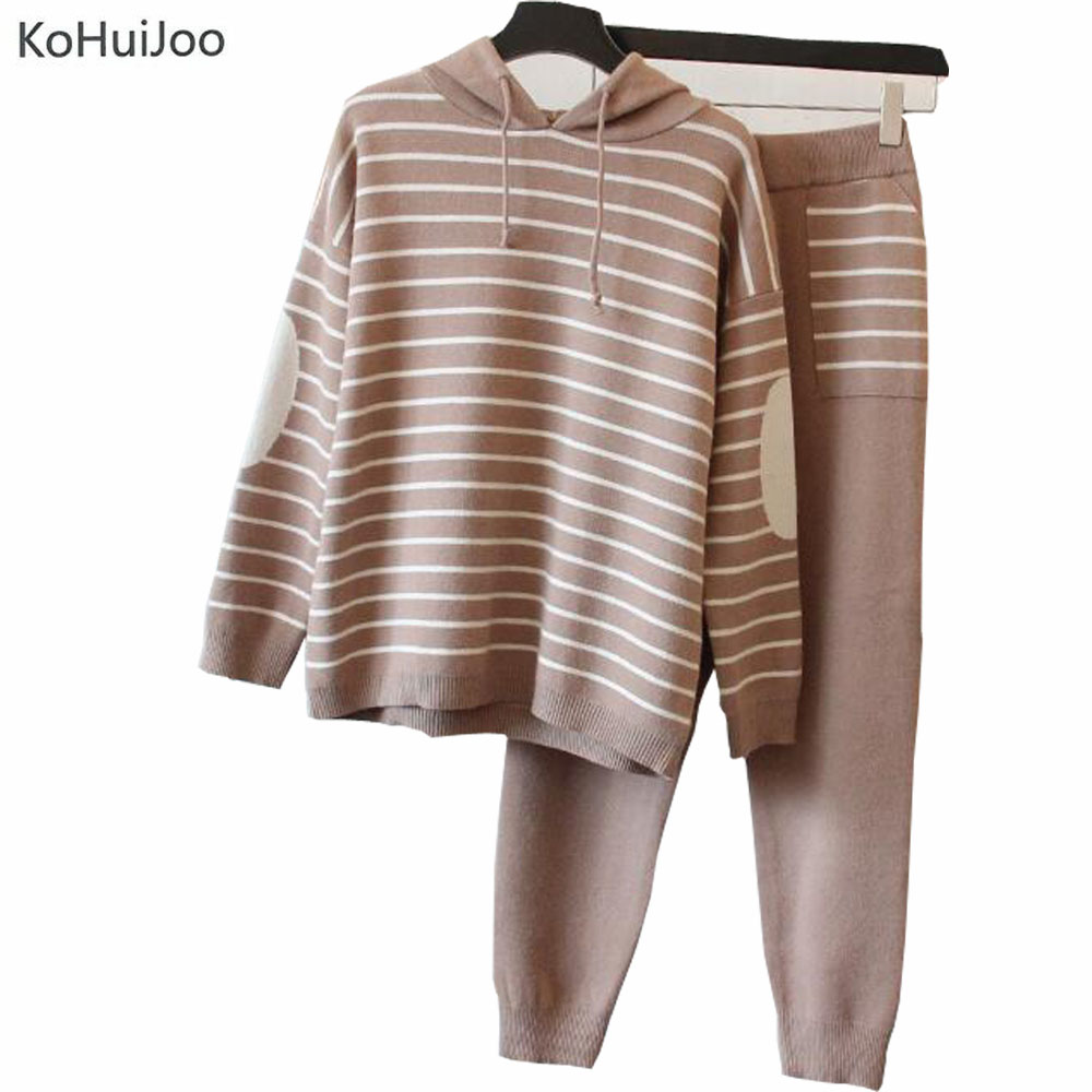 Autumn Winter Women Long Sleeve Hooded Sweater Knitted Pants Set ...