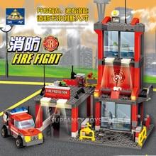 300Pcs City Fire Station Engine Truck Car Building Blocks Sets Firefighter Technic Playmobil Bricks LegoINGLs Toys For Children