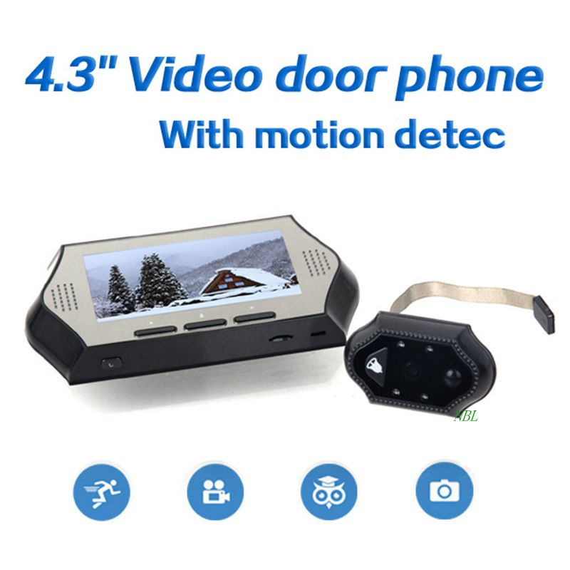 4.3inch LCD Display Video Door Phone With PIR Motion Detector HD 4 IR LED NightVersion Smart Peephole Viewer DoorBell Recorder free shipping 600x 4 3 lcd display microscope zoom portable led video microscope with aluminum stand for pcb phone repair bga