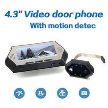 4.3 дюймовый ЖК-Дисплей Видео-Телефон Двери С ИК Детектор Движения HD 4 ИК NightVersion Смарт Глазок Дверной Звонок рекордер