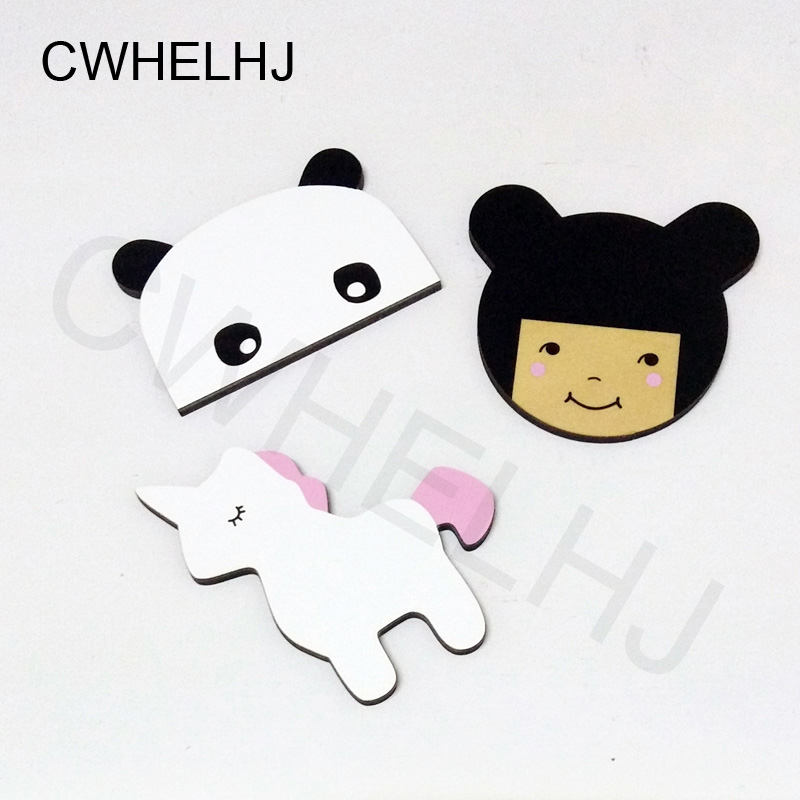 Nordic Sleepy Eyes Unicorn / Panda / Girl Wall Hook Wooden BedRoom Clothing Hooks Wall Sticker Decorating Wood Kids Room Decoration