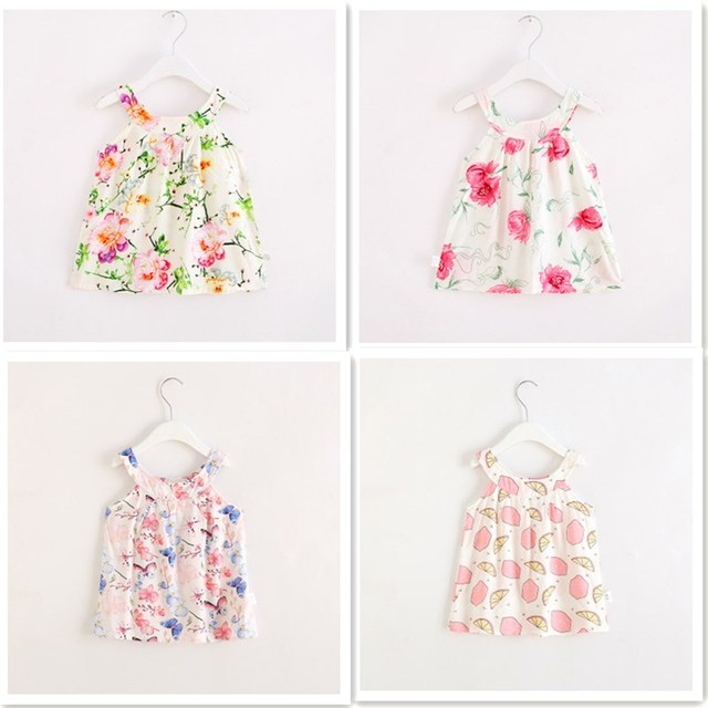 c0e7bccc7 Girls Dress Lemon Print Floral Cotton Vest Toddler Summer BeachDress ...