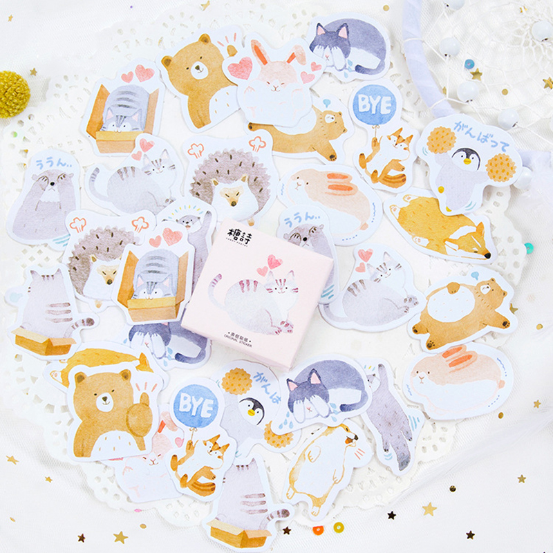 45PCS/Lot Pet Cats And Small Animals Stickers Scrapbooking Stickers Christmas For Party Decoration DIY Adhesive Sticker