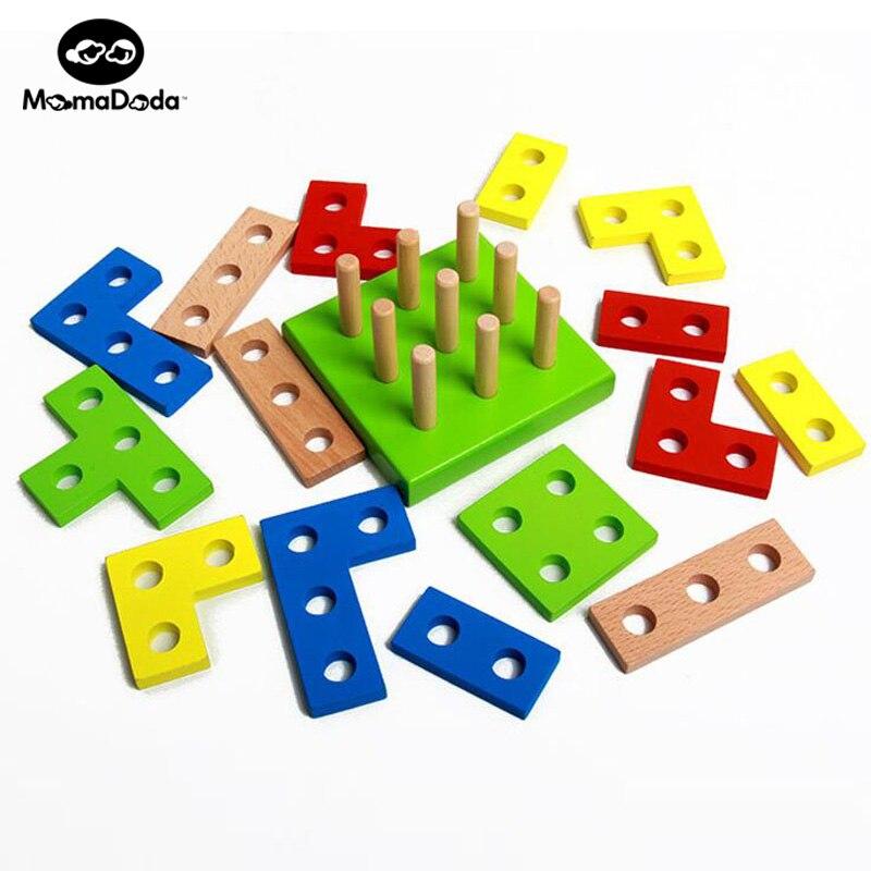 16 Stücke Tetris Holz Montessori Materialien Mathematik Pädagogisches Geometrie Montage Baustein Für Kinder Farbe Form Kognitiven Spielzeug