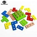 16 Unids Tetris Madera Materiales Montessori Matemáticas Geometría Educativa Forma Cognitiva de Juguete Montaje de Bloques de Construcción Para Niños de Color