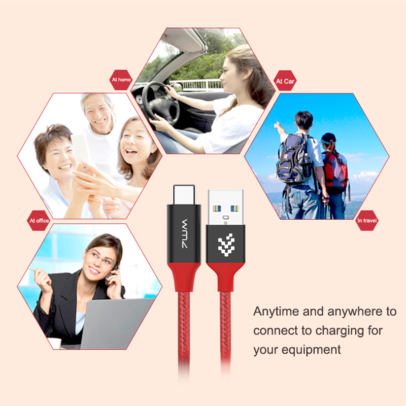 WMZ USB 3 0 Type C Cable Fast Charging Data 2 4A USB C Braided Wire for Huawei Samsung Xiaomi Macbook LG High Quality QC 3 0 in Data Cables from Consumer Electronics