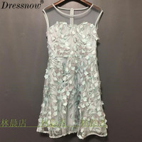High Quality fashion clothing sequin appliques dress women runway dress beige lace sexy short mesh party dress gown