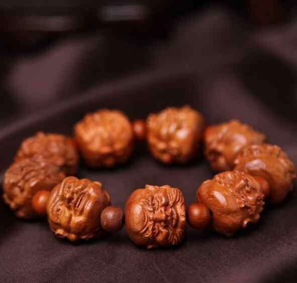 Naturalne rzeźbione mahoń 18 rohan arhat głowy string bransoletka i bransoletki dla mężczyzn kobiety moda rzeźbione budda koraliki bransoletka biżuteria