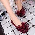 Mujeres de La Moda Arco Punta estrecha Slip-on Pisos Niñas Señoras Bailarinas Ocasionales Respirables Estudiantes Zapatos Planos Bajos de Las Mujeres Planas