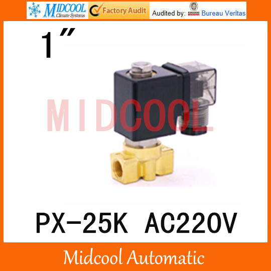 Free shipping AC220V  diaphragm brass water electromagnetic valve PX-25K port 1 free shipping ac