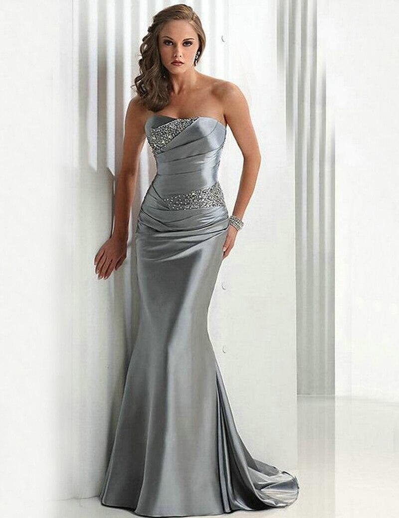 Sweetheart Azul Real de Noche Largo Vestidos Lace Up Volver Gris Plata  Vestido de Fiesta Rebordear Sirena Borgoña Vestidos de No.