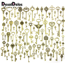 100pcs/lot Vintage Charms Mixed Keys Pendant Antique bronze key charms Fit Bracelets Necklace DIY Metal Jewelry Making