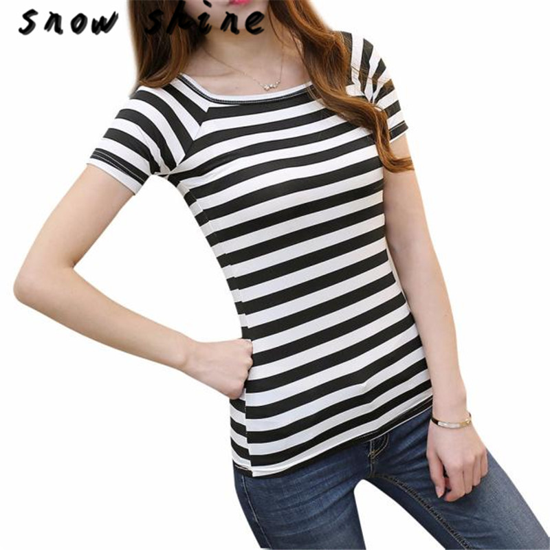 snowshine YLI Women Slim Round Neck Short Sleeve Striped T-shirt Tops FREE SHIPPING