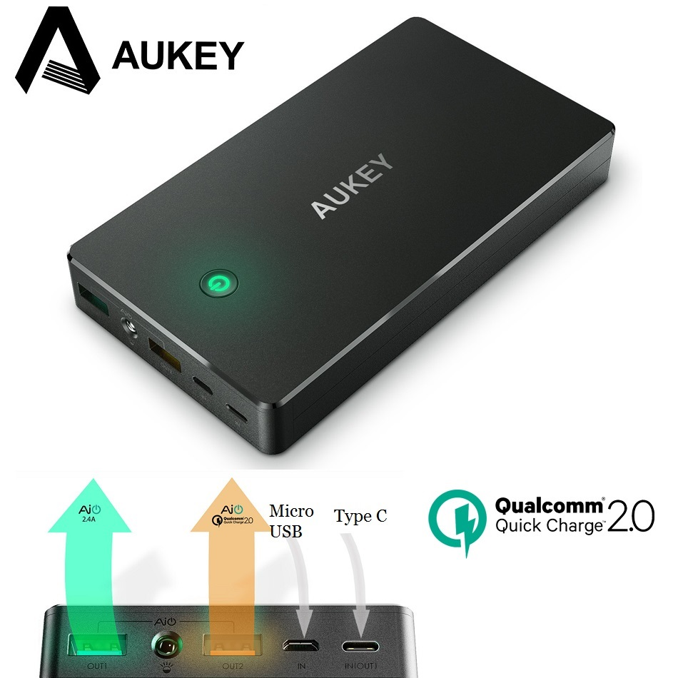 Цена за Aukey 20000 мАч Power Bank с Micro USB и Тип C вход 5V3A QC2.0 Портативный быстрое зарядное устройство для Xiaomi Redmi 4x, Samsung Galaxy S8