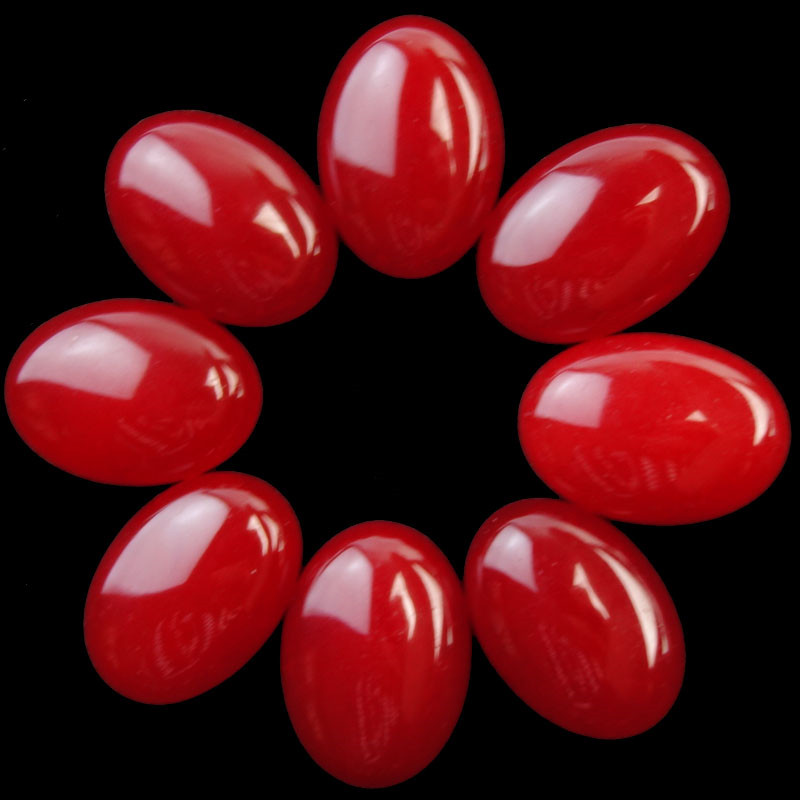 (Min. order 10 $ mix) 10 Pcs Red Pedra Oval CAB CABOCHON 30x20x8mm SHX2162
