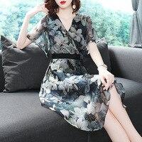 BURDULLY 2019 Для женщин летние модные шелковые Цветочный принт платье v образным вырезом Половина рукава платья Цветочный Пляж до колена Длина д