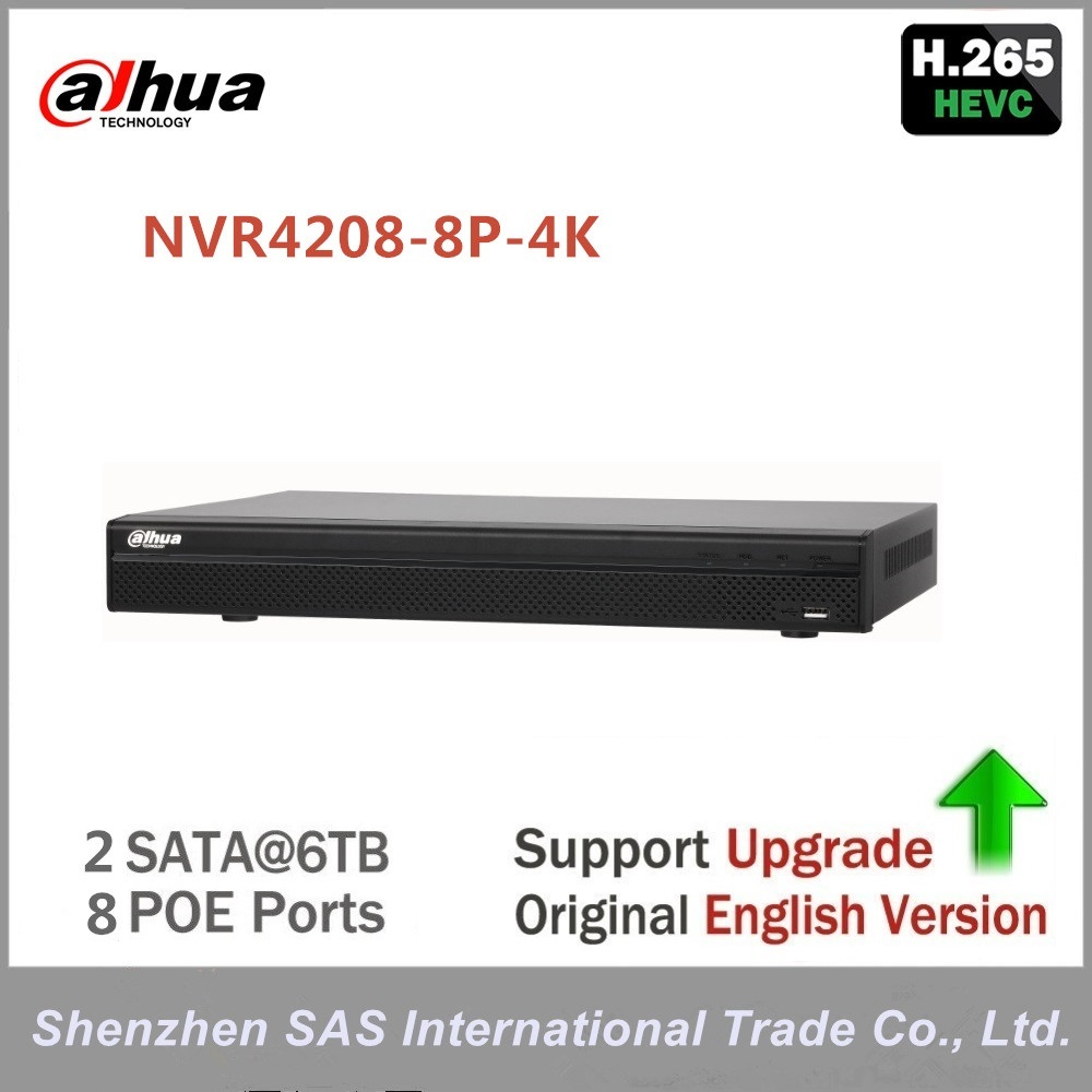 original Dahua English version 4K NVR 8ch NVR4208-8P-4K Network Video Recorder H.265 With 8PoE Ports for Security camera original english version nvr ds 7104ni sn p 4ch mini nvr 4ch poe network video recorder hd 1080p nvr work well with h 265 ipc