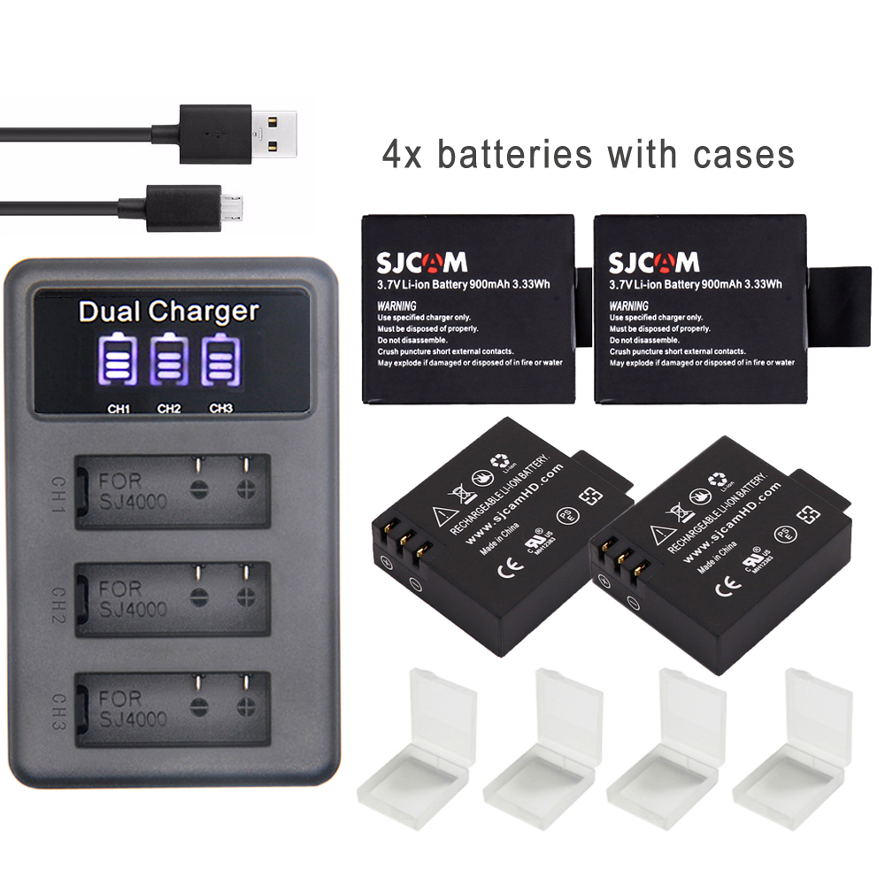S009 d'origine SJ 4000 Batterie eken H9 SJ5000 Wifi + 3Ports chargeur LED pour SJCAM sj4000 batterie SJ6000 SJ7000 SJ8000 sj9000 M10