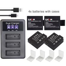 S009 original SJ 4000 Battery eken H9 SJ5000 Wifi +3Ports LED charger for SJCAM sj4000 battery SJ6000 SJ7000 SJ8000 sj9000 M10