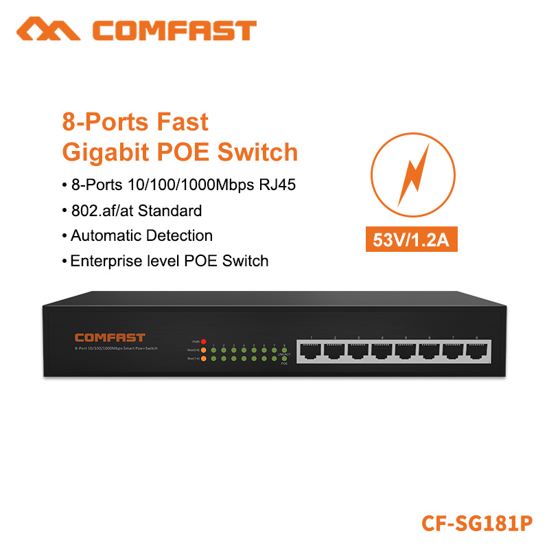 COMFAST 8 Ports Gigabit POE Switch Network Switch With 16Gbps Broad Width 8*10/100/1000Mbps POE Power Supply RJ45 Port CF-SG181P