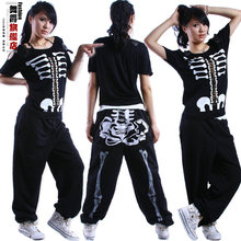 New Fashion summer time hip hop high dance Jazz costume efficiency put on Halloween Skull cutout rivets ds skinny unfastened tee t-shirt
