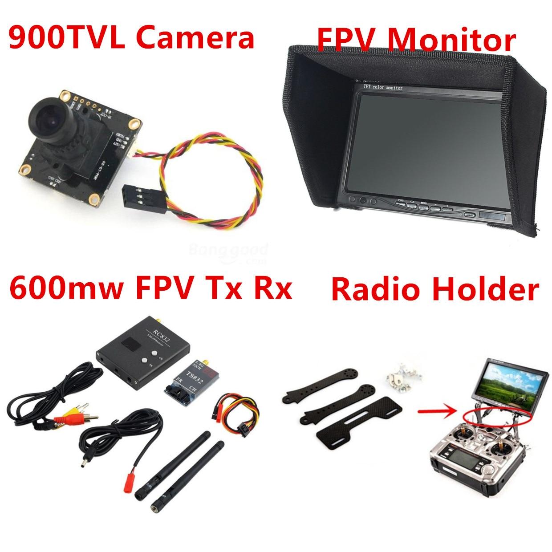 2015 New Fpv Kit Combo System 900TVL Camera + 5.8Ghz 600mw VTx VRx + 800x480 HD Sonw Monitor + Radio holder for RC Car