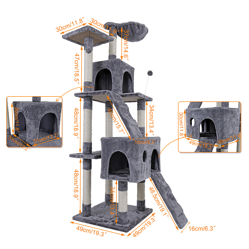 Us Domestic Delivery 68 Cat Tree Kitten Activity Tower Condo Stand With Deluxe Scratching Posts Natural Sisals Jump Ladder In Furniture Scratchers