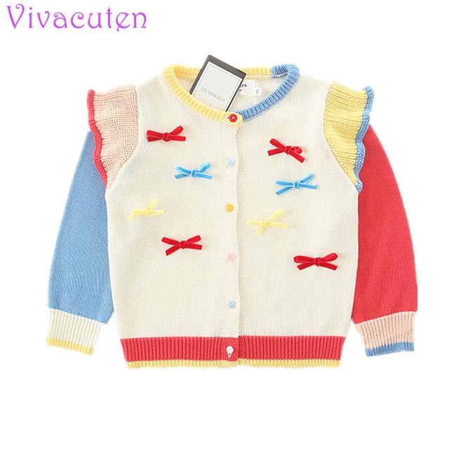 Baby cardigan girl sweater sweet Contrast color Stitching bowknot cardigans baby girl cardigan baby coat kids clothes for girls