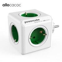 Allocacoc original elétrica ue plug power strip powercube adaptador de viagem tomada 16a 3600w 5 tomadas extensão plug casa