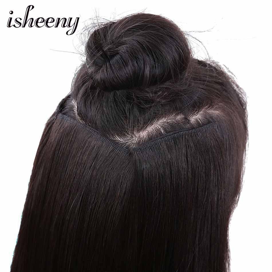 """Isheeny 16 """"20"""" 24 """"28"""" Remy Clip-en una pieza 20g Natural Delgado brasileño clip de cabello humano en extensiones"""