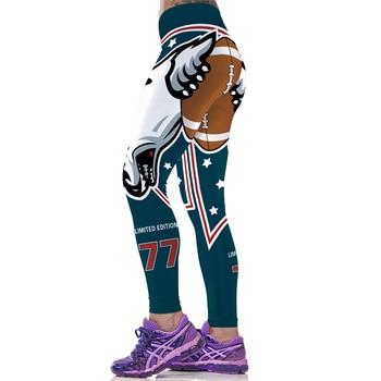 High Waist Women Sport Leggings Slim Gym Sportwear Fitness Running Jeggings America Football Pant Leopard 3D Print Pencil Capris 1