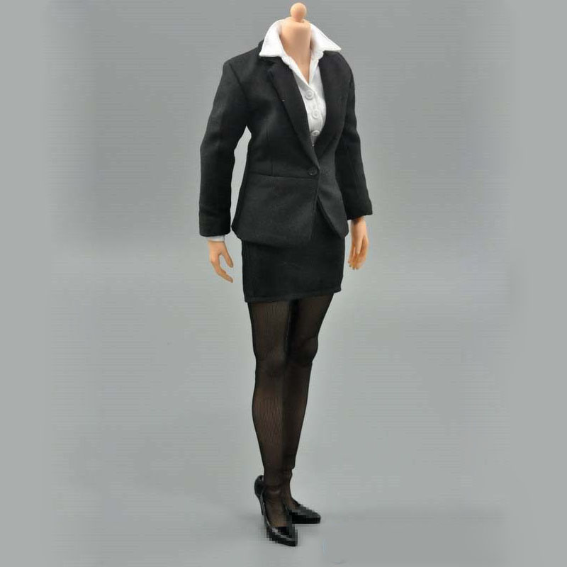 Mnotht 1:6 Scale Womens Female Occupation Business Career Office Pant black Suit Set Fit For 12'' Action Figure Body Accessories mnotht 1 6 scale female body figures