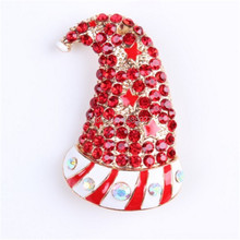 2015 New Fashion Christmas Santa Clause Hat Enamel Brooch Pins Full Red Rhinestones Jewelry For Women/Children