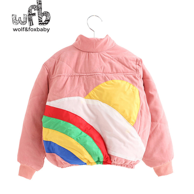 Retail 3-10 years children parkas full-sleeves printing rainbow Thickening Keep warm coat kids spring autumn fall winter