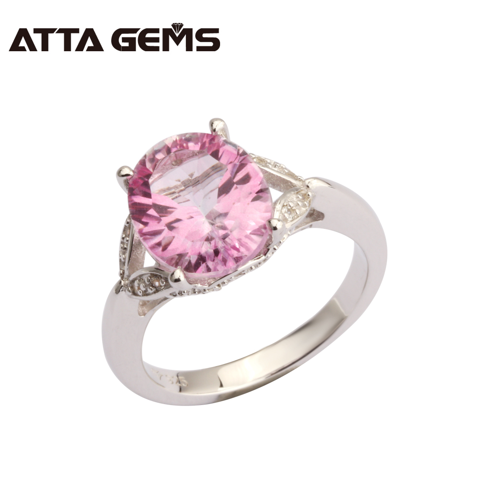 Natural Pink Topaz Sterling Silver 4.5 Carats Natural Pink Topaz Ladies Favorite Ring Women Fine Jewelry Wedding Birthday