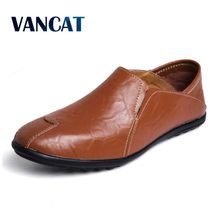 Vancat Men Shoes Genuine Leather Moccasin Loafers Designer Slip On Flat Boat Shoes Male Classical Chaussure Homme Size 38-47